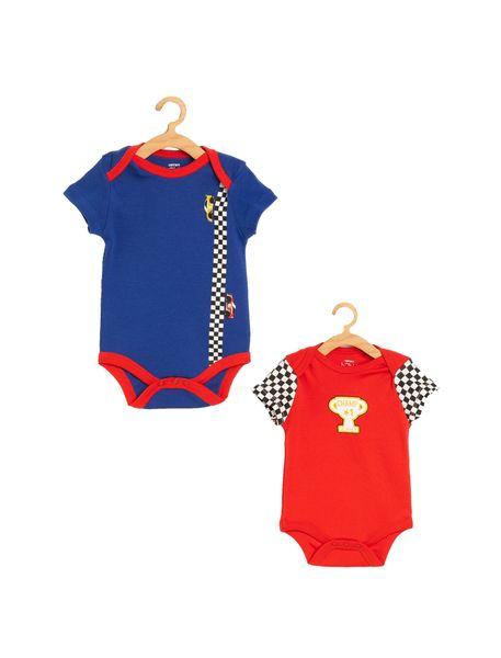 سرهمی نخی نوزادی پسرانه - آبي/قرمز - 1