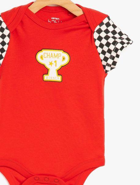 سرهمی نخی نوزادی پسرانه - آبي/قرمز - 3