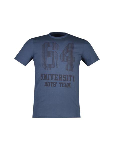 تی شرت نخی یقه گرد مردانه - آبي - 1