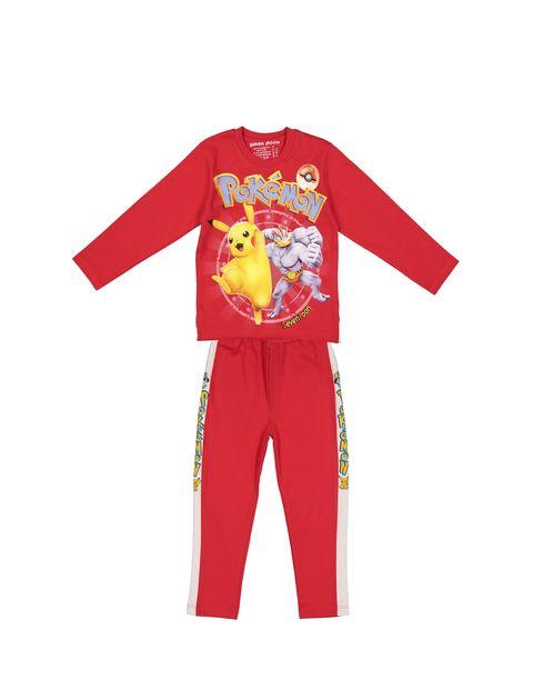 تی شرت و شلوار نخی پسرانه - قرمز - 1