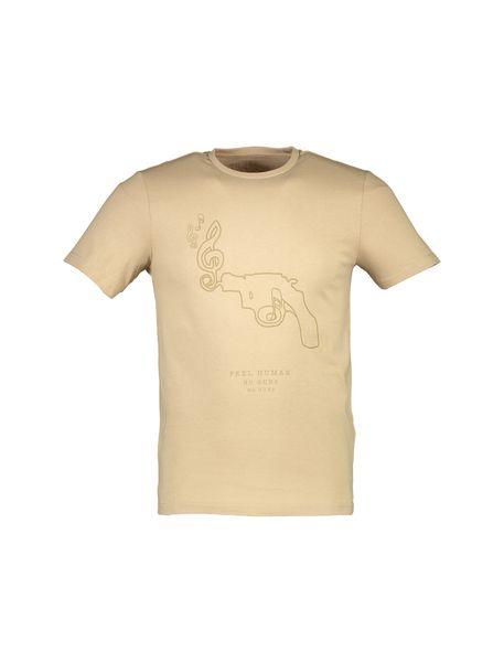 تی شرت نخی یقه گرد مردانه - بژ - 1