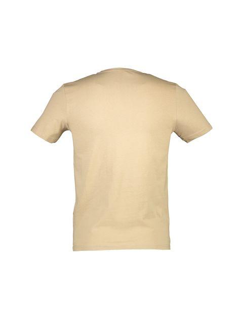 تی شرت نخی یقه گرد مردانه - بژ - 2