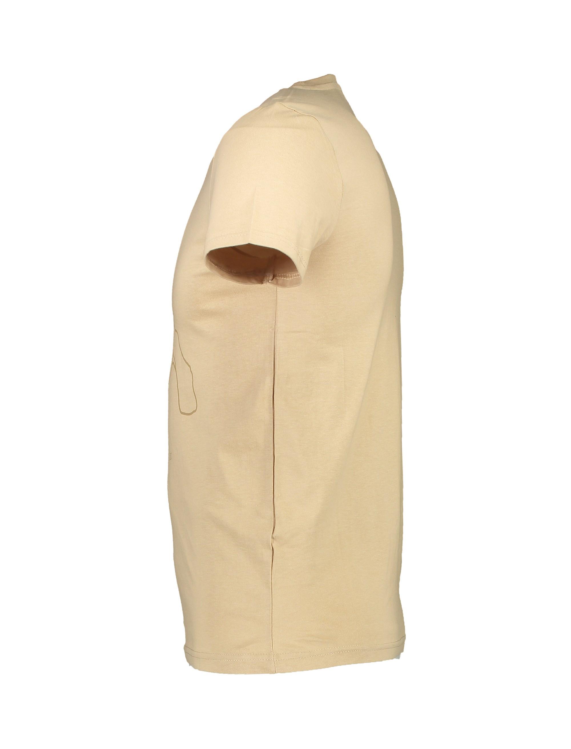تی شرت نخی یقه گرد مردانه - بژ - 3