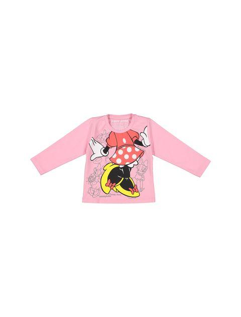 تی شرت نخی یقه گرد دخترانه - سون پون - صورتي - 1