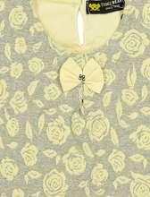 بلوز و شلوار نخی دخترانه مدل گل - زرد - 5
