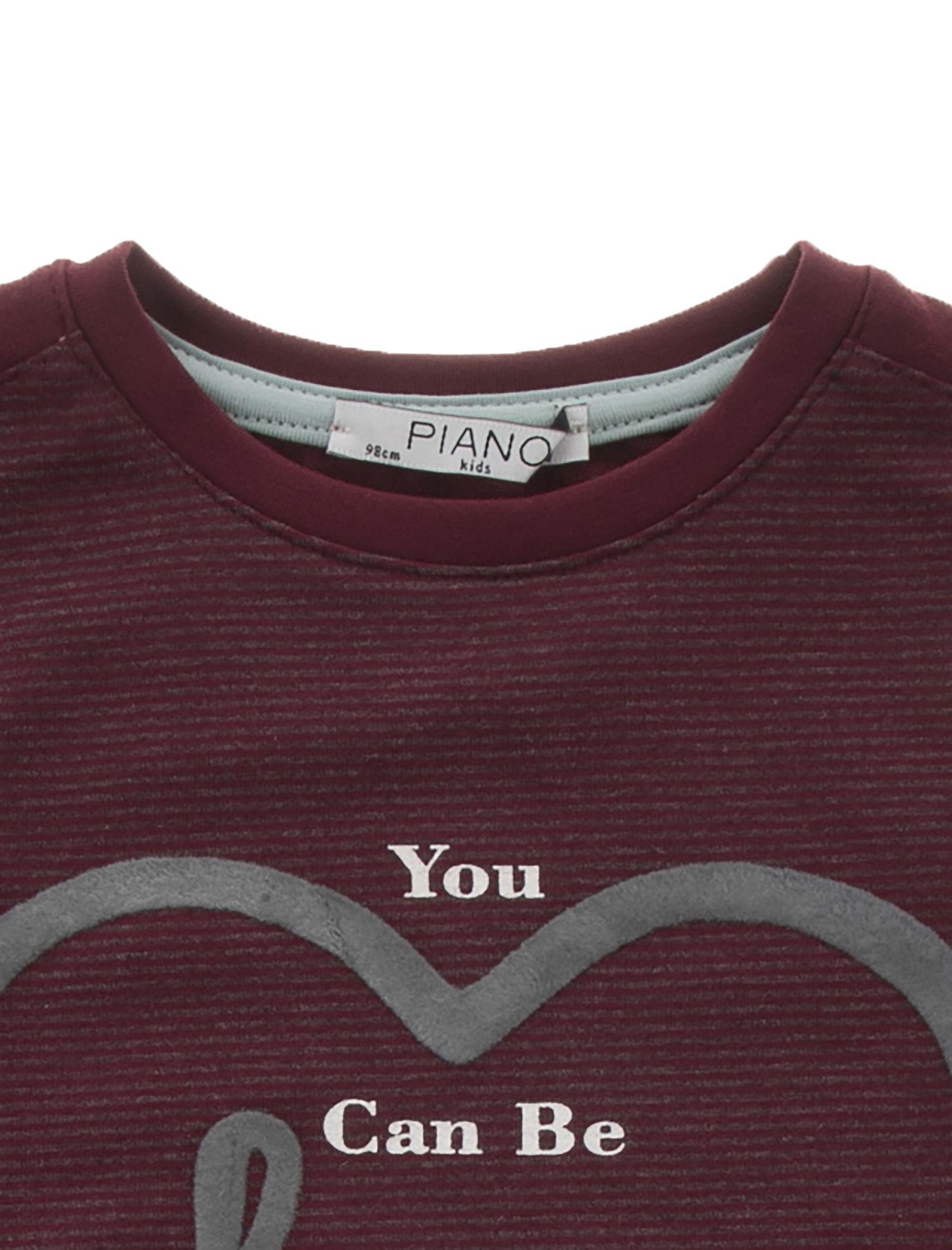 تی شرت و شلوار نخی دخترانه - پیانو - زرشکي - 6
