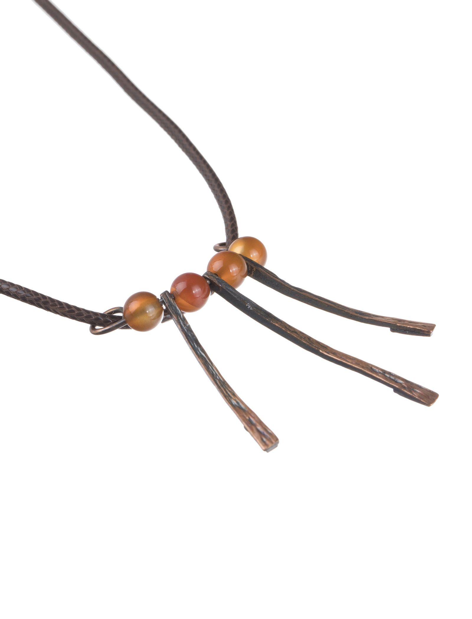 گردنبند آویز زنانه - زرمس تک سایز - قهوه اي - 2