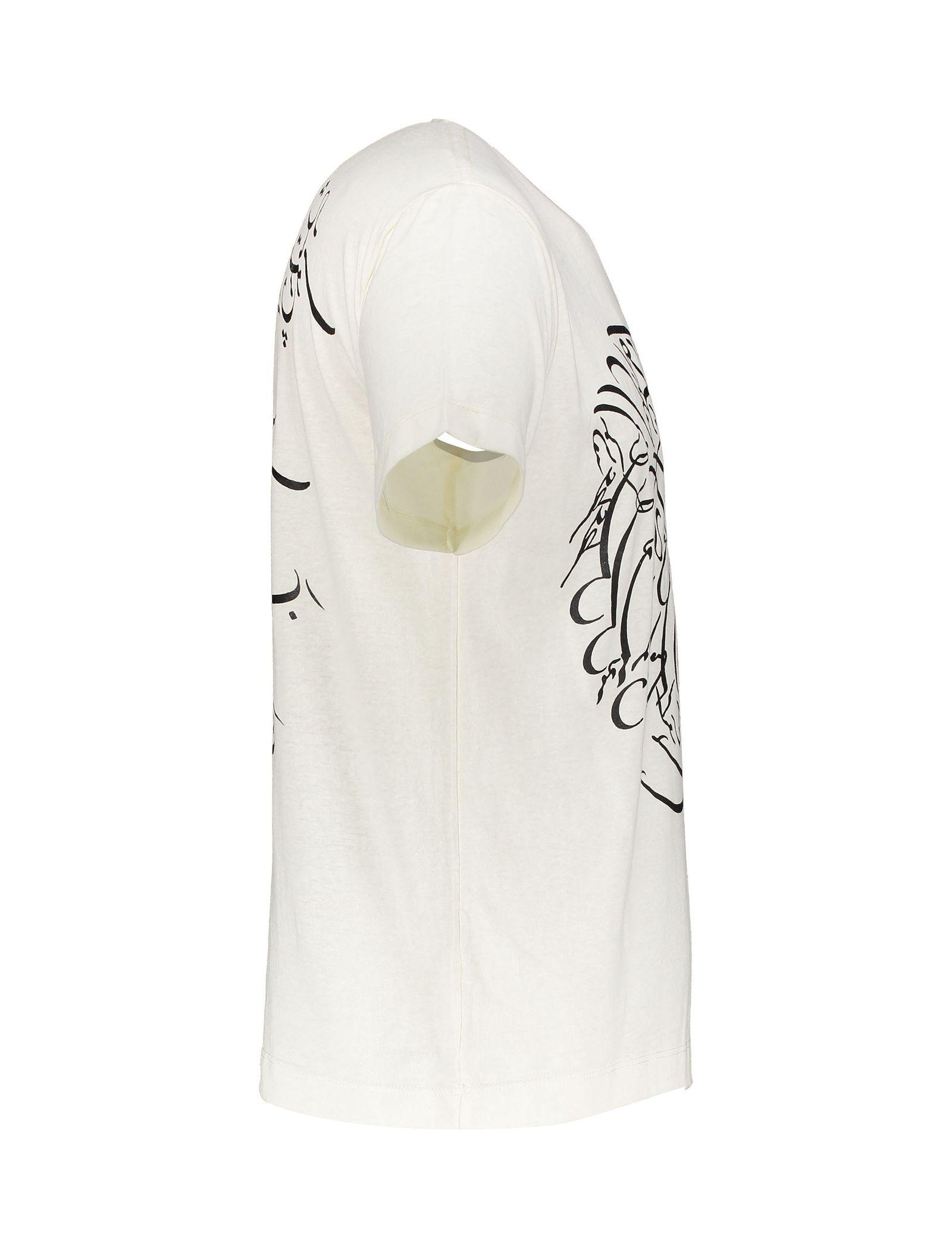 تی شرت یقه گرد مردانه - متی - سفيد وانيلي - 4