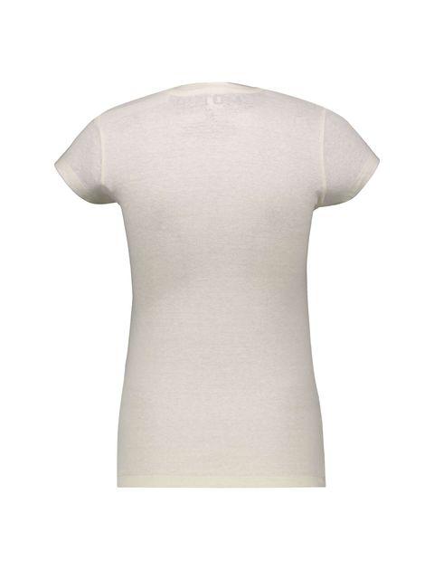 تی شرت یقه گرد زنانه - کرم - 2