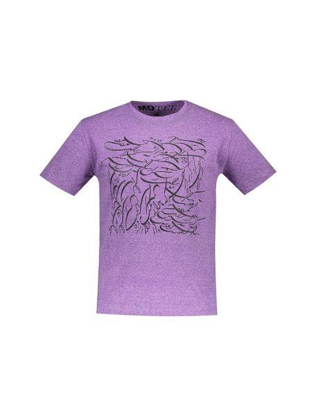تی شرت یقه گرد مردانه - بنفش - 1