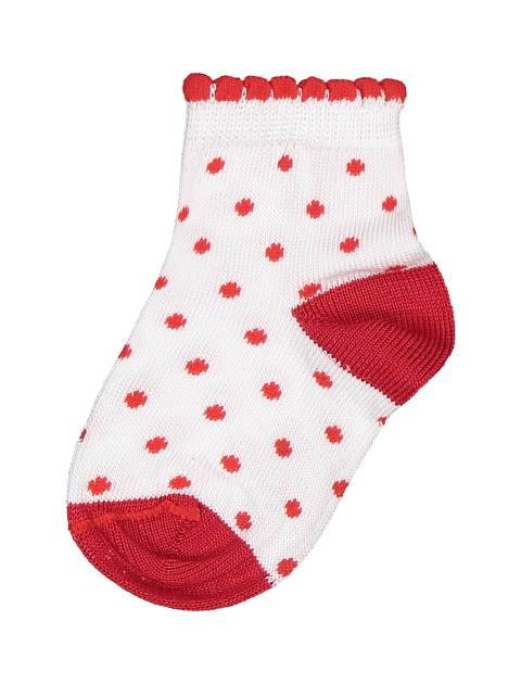 جوراب نخی طرح دار نوزادی دخترانه - سفيد و قرمز - 2