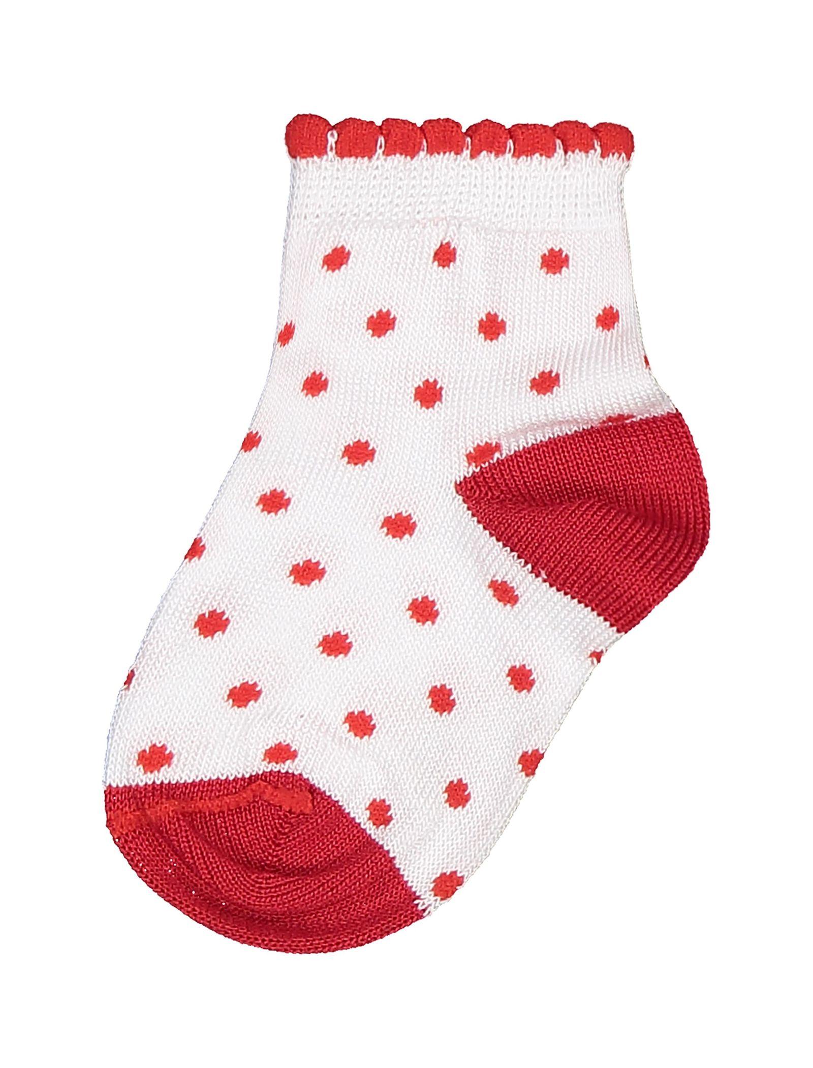 جوراب نخی طرح دار نوزادی دخترانه - ایدکس - سفيد و قرمز - 2