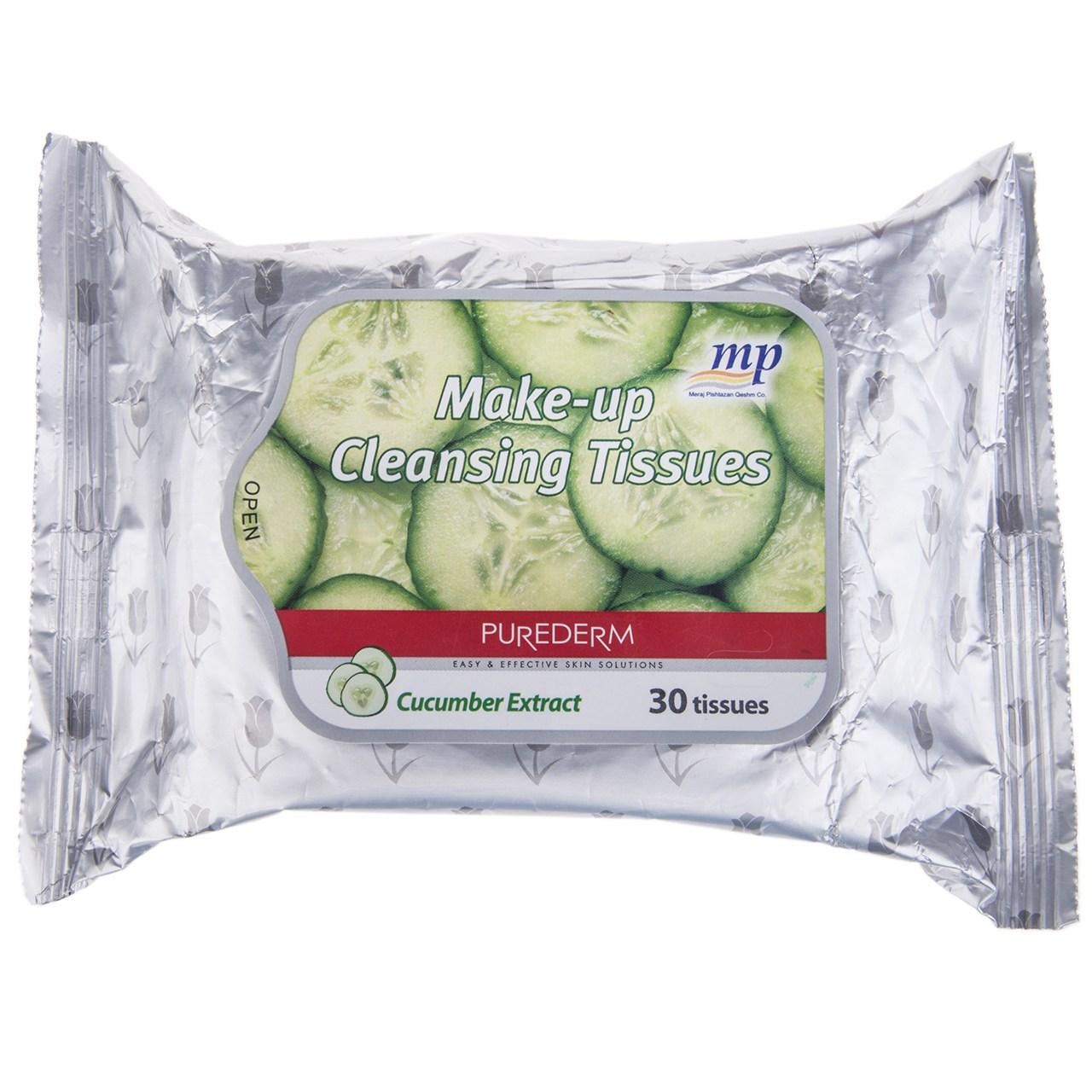 دستمال مرطوب پاک کننده آرایش پیوردرم مدل Cucumber Extract - بسته 30 عددی