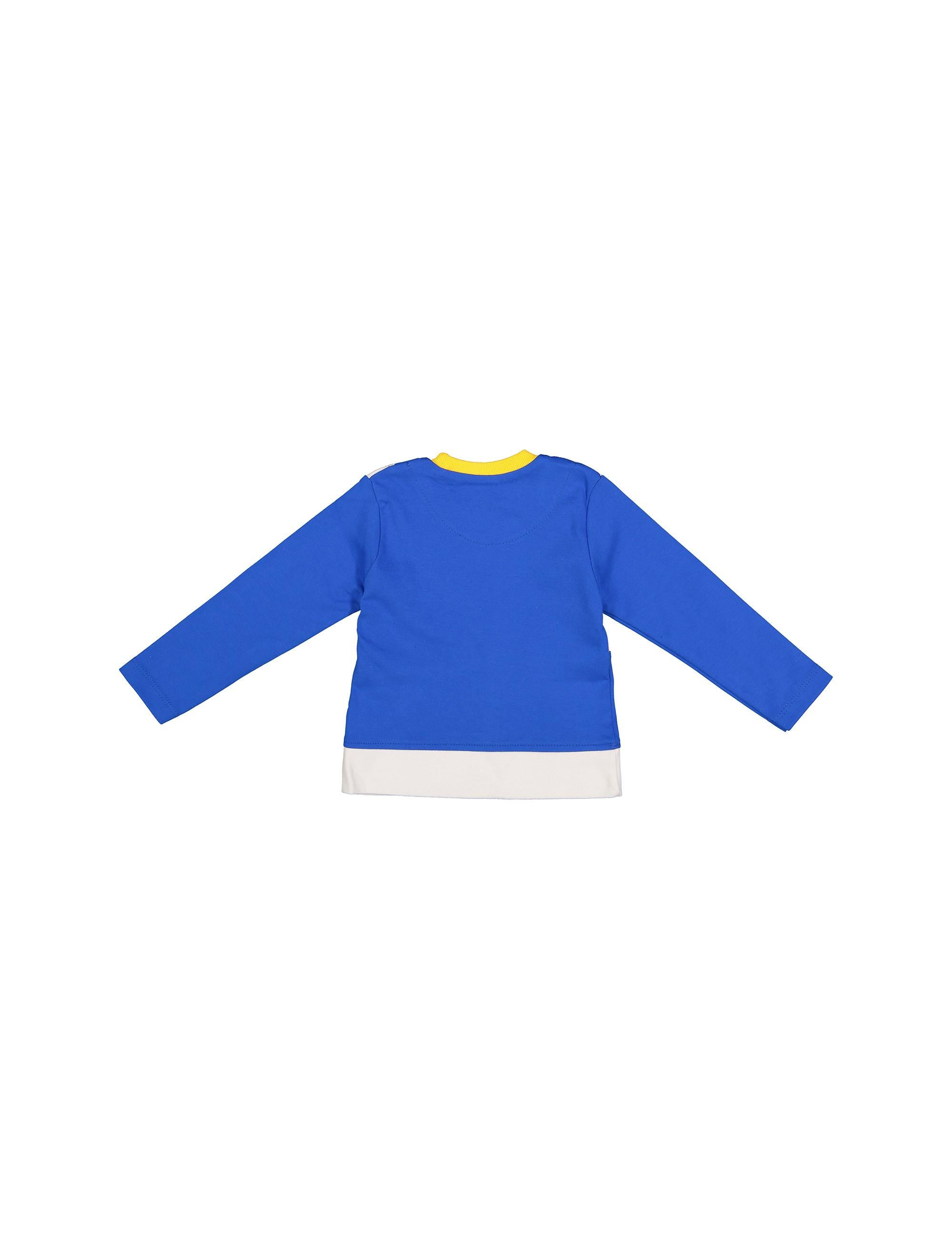 تی شرت نخی یقه گرد پسرانه - آبي - 2
