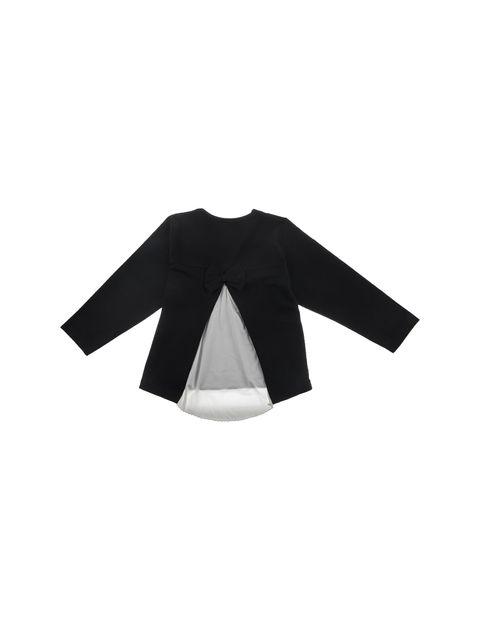تی شرت نخی یقه گرد دخترانه - سون پون - مشکي - 2