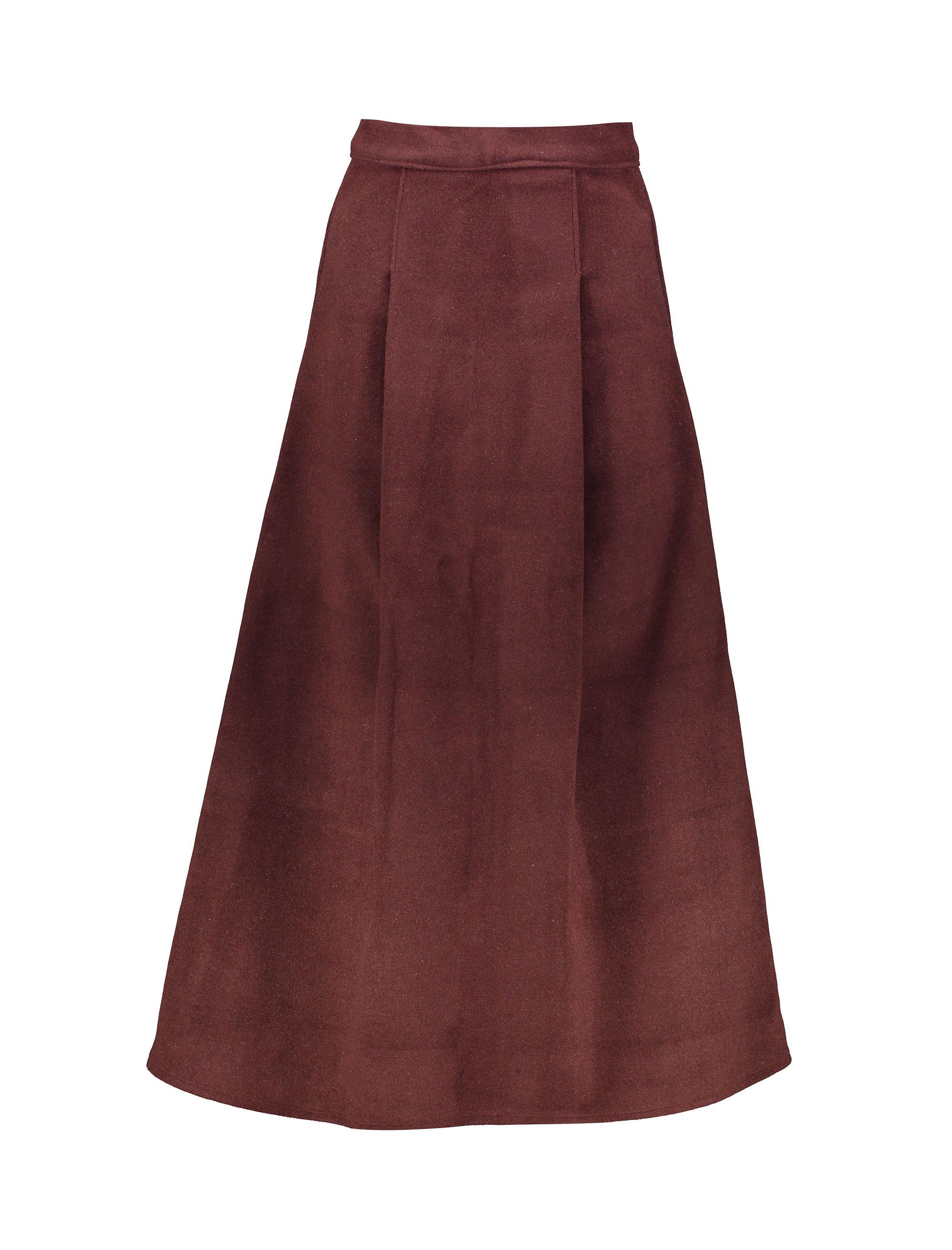 دامن پشمی بلند زنانه - زرشکي - 1