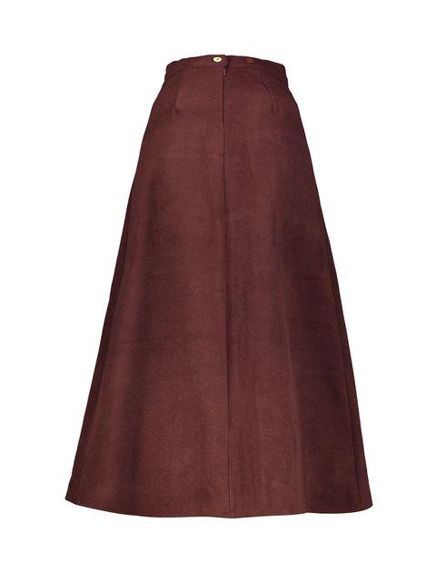 دامن پشمی بلند زنانه - زرشکي - 2