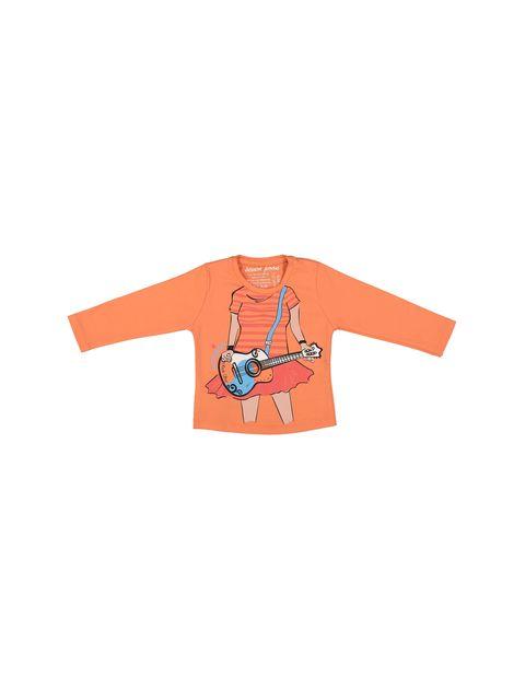 تی شرت نخی یقه گرد دخترانه - سون پون - نارنجي - 1