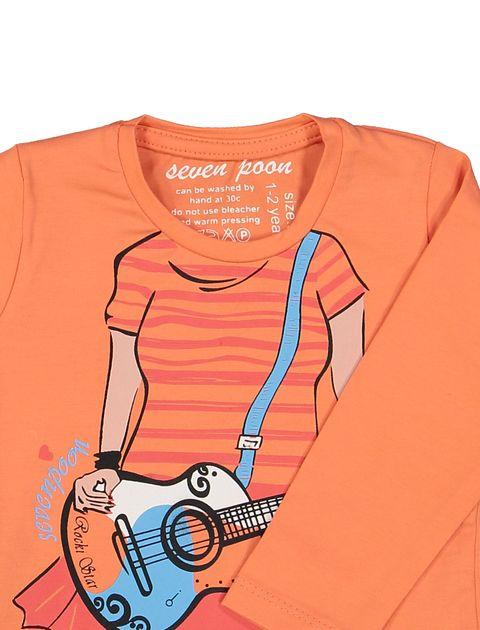 تی شرت نخی یقه گرد دخترانه - سون پون - نارنجي - 3