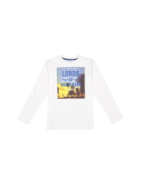 تی شرت نخی آستین بلند پسرانه - سفيد - 1