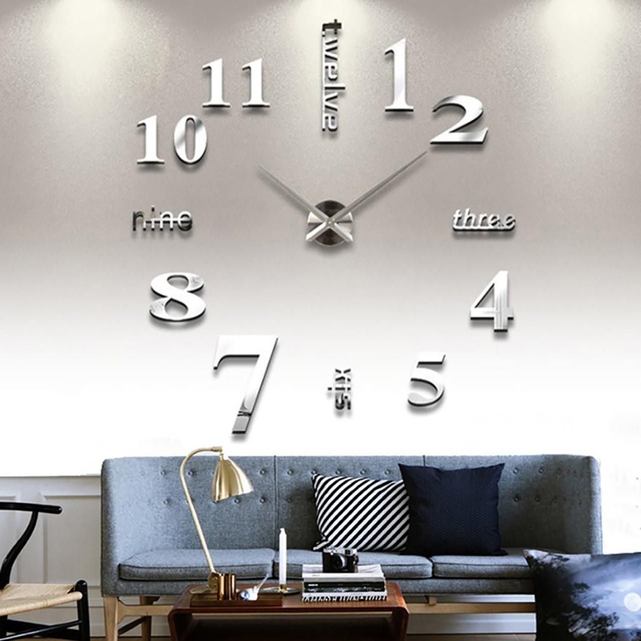 خرید ساعت دیواری پدیده شاپ مدل Number نقره ای