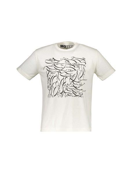 تی شرت یقه گرد مردانه - کرم - 1