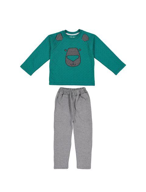 تی شرت و شلوار نخی پسرانه - سون پون - سبز / طوسي - 1
