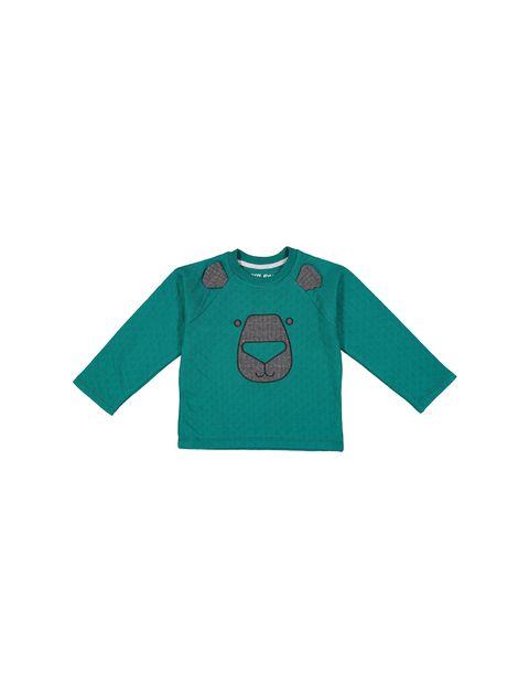 تی شرت و شلوار نخی پسرانه - سون پون - سبز / طوسي - 2