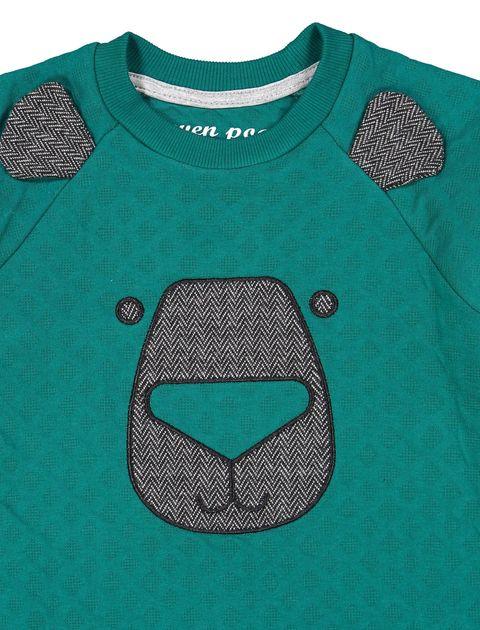 تی شرت و شلوار نخی پسرانه - سون پون - سبز / طوسي - 4