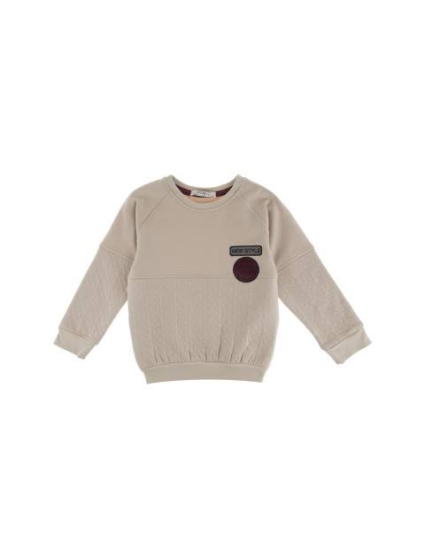 تی شرت نخی یقه گرد پسرانه - کرم - 1