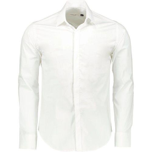 پیراهن آستین بلند سفید مردانه پبونی مدل BW