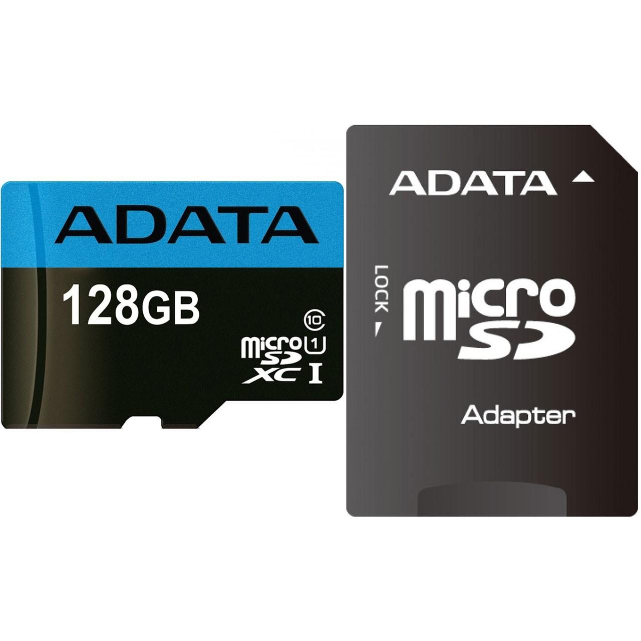 کارت حافظه microSDXC ای دیتا مدل Premier کلاس 10 استاندارد UHS-I U1 سرعت 85MBps همراه با آداپتور SD ظرفیت 128 گیگابایت