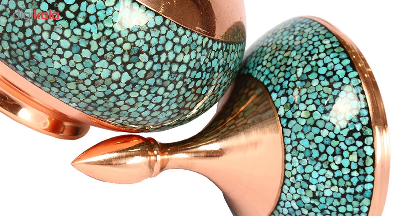 Copper Turquoise inlaying sugar/candy pot dish, Goharan Gallery , Copper and turquoise 1170 Model