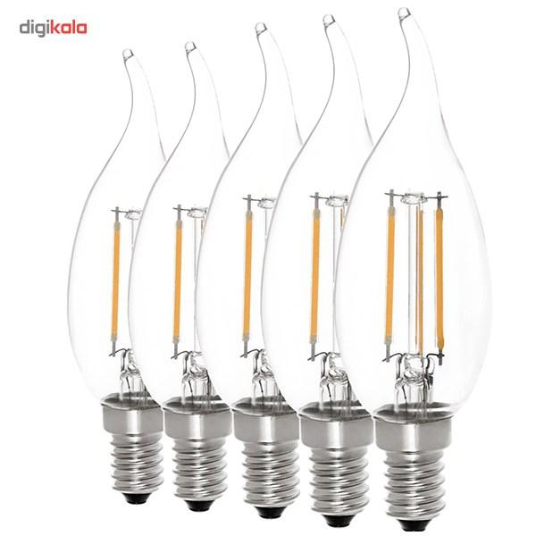 لامپ ال ای دی فیلامنتی 4 وات سان شاین پایه E14 بسته 5 عددی