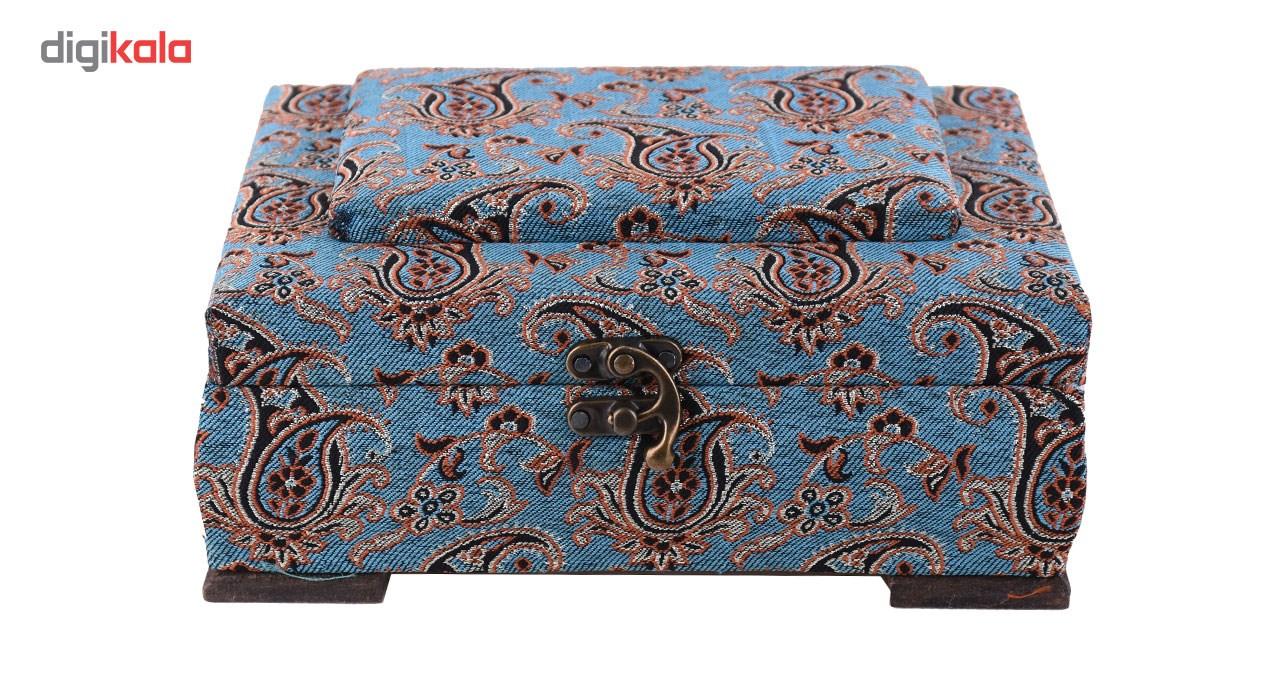 خرید                      جعبه چوبی پایا چرم طرح ترمه مدل 01-02 سایز متوسط