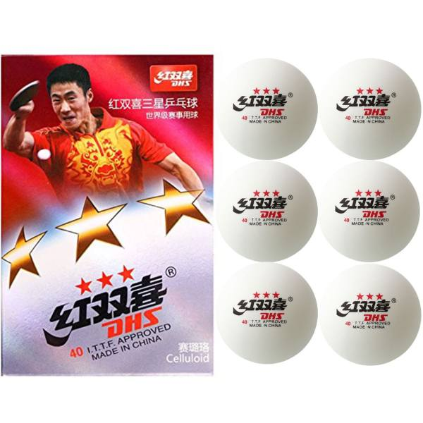 توپ پینگ پنگ دی اچ اس مدل 3 Star بسته 6 عددی | DHS 3 Star Ping Pong Ball Pack Of 6