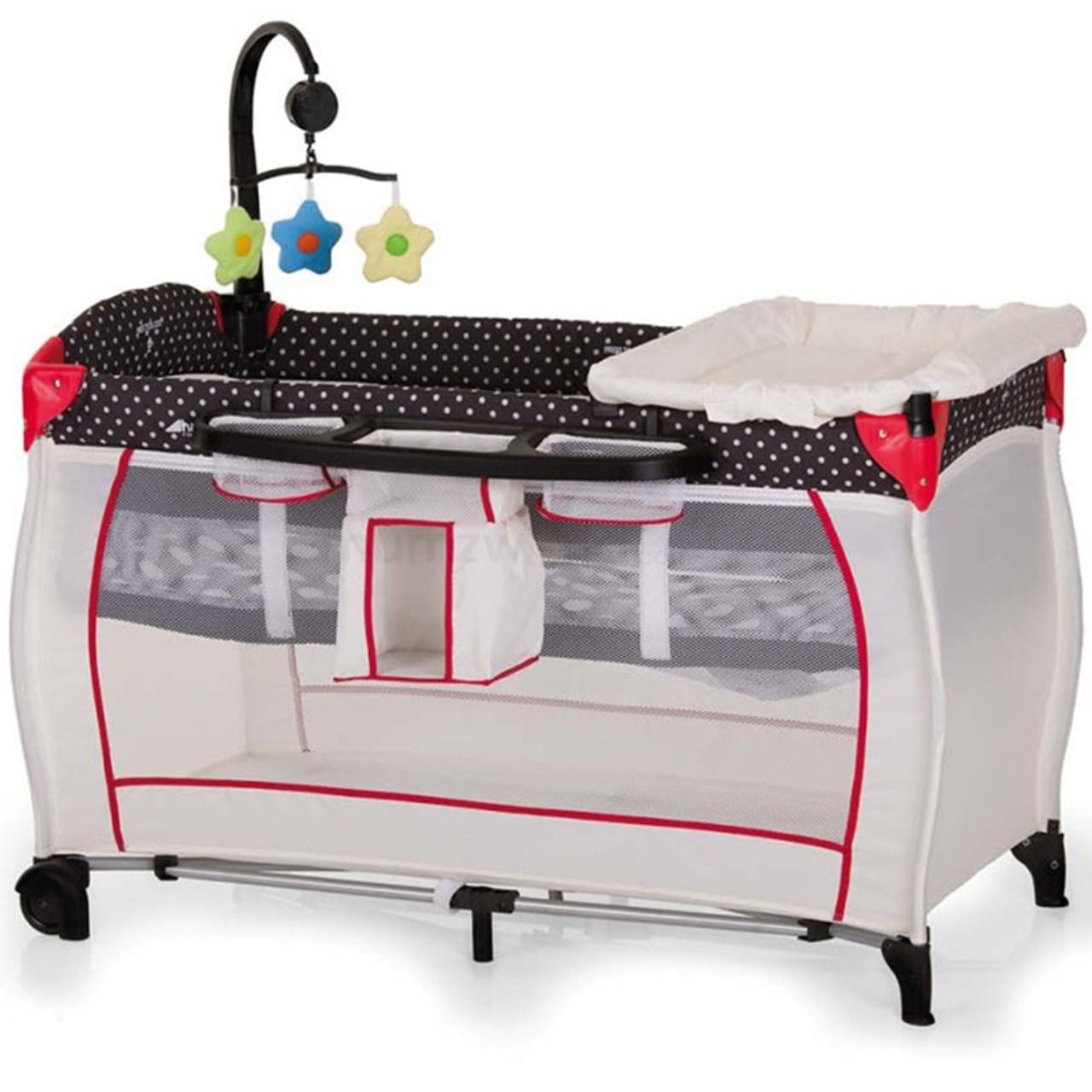 تخت و پارک بازی هاوک مدل Babycenter/Dots Black