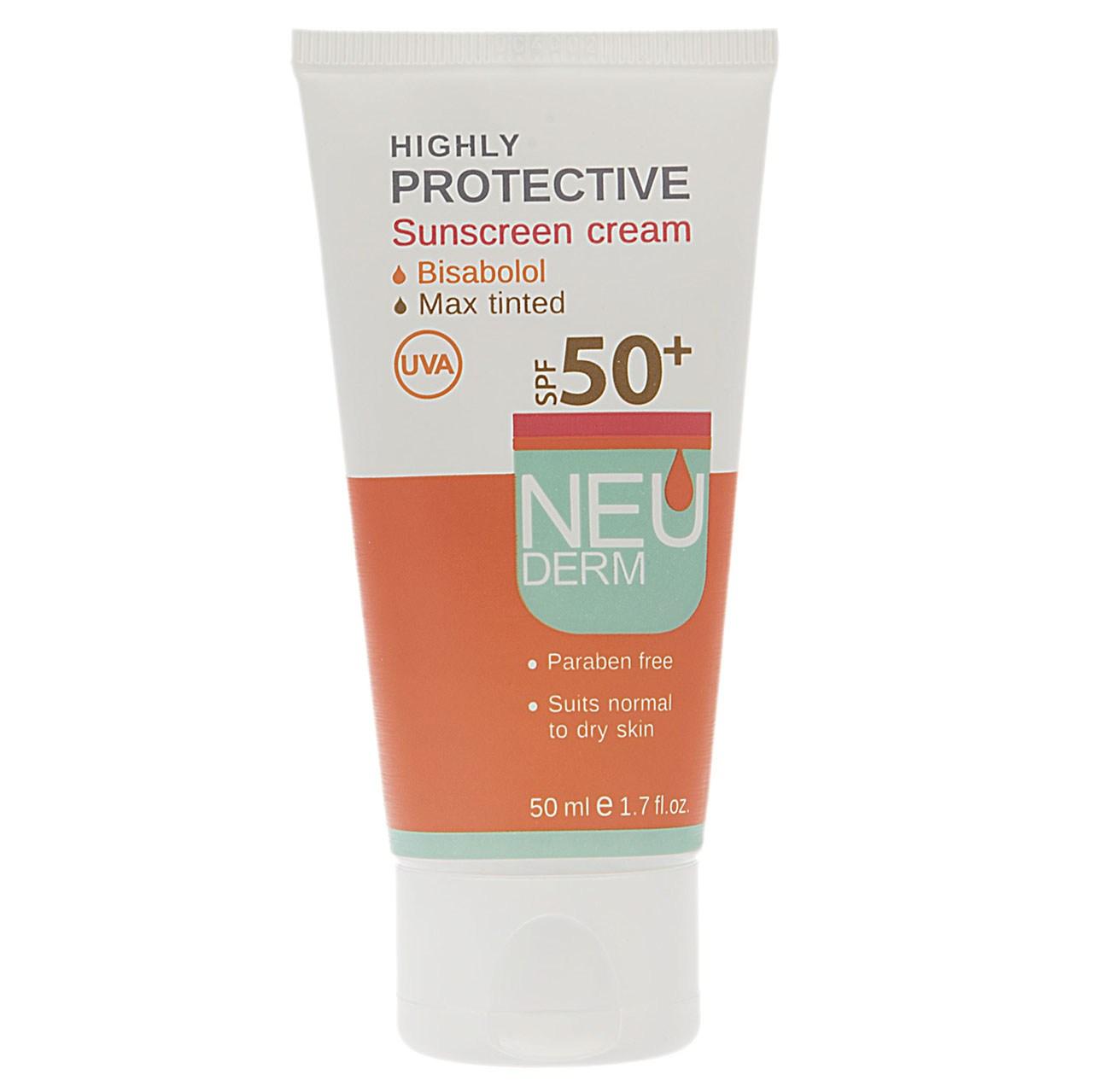 قیمت کرم ضد آفتاب رنگی نئودرم مدل Highly Protective SPF50 حجم 50 میلی لیتر