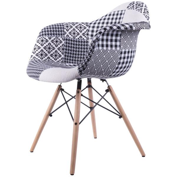 صندلی کروماتیک مدل Black White Patchwork Armchair Wood Legs