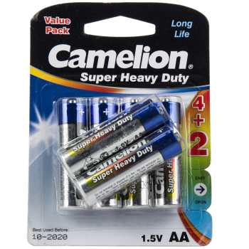 باتری قلمی کملیون مدل Super Heavy Duty بسته 6 عددی | Camelion Super Heavy Duty AA Battery Pack of 6