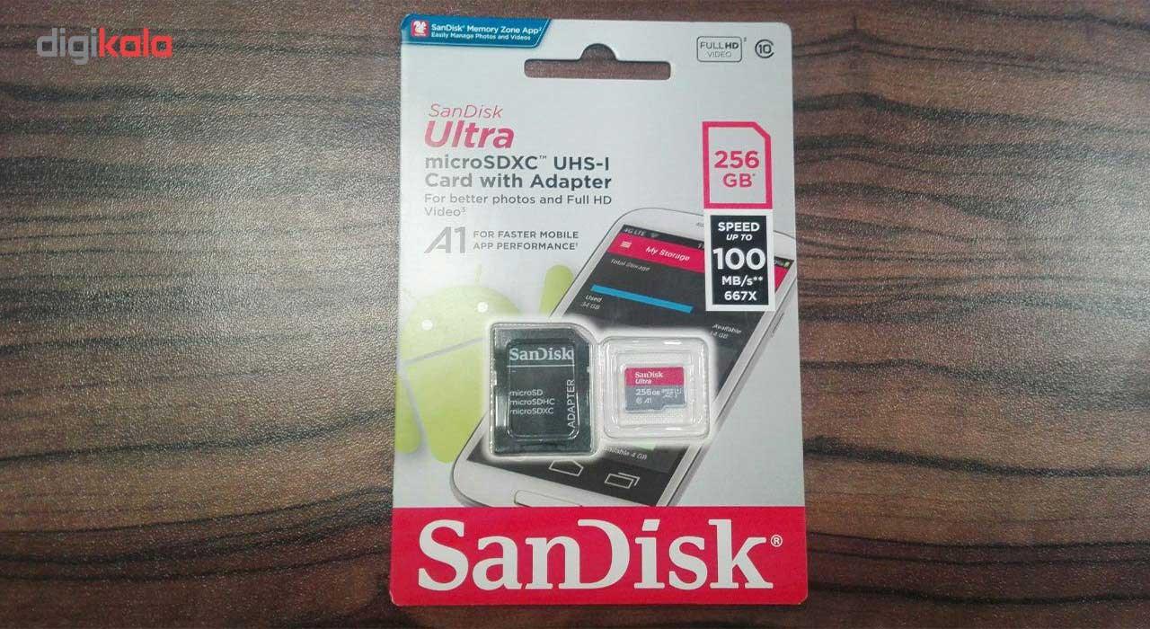 کارت حافظه microSDXC سن دیسک مدل Ultra کلاس10 و A1 استاندارد UHS-I U1 سرعت 100MBps 667X همراه با آداپتور SD ظرفیت 256 گیگابایت main 1 2