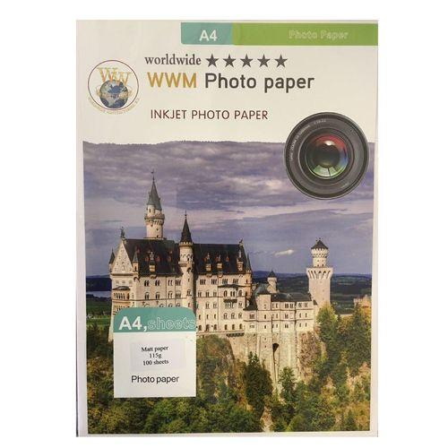 کاغذ عکس ورلدواید مدل Matte 115G سایز A4 بسته 100 عددی