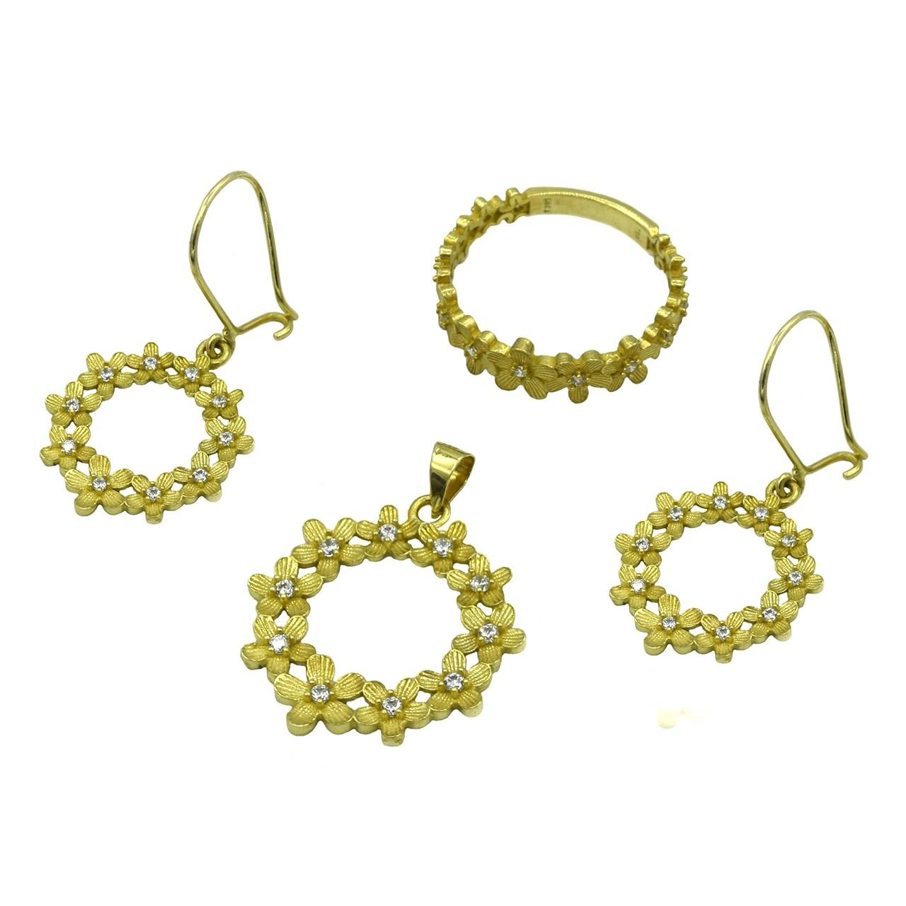 ست طلا 18 عیار جواهری سون مدل 1843