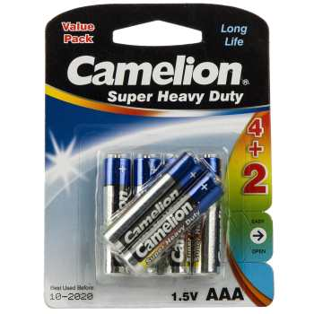 باتری نیم قلمی کملیون مدل Super Heavy Duty بسته 6 عددی | Camelion Super Heavy Duty AAA Battery Pack of 6