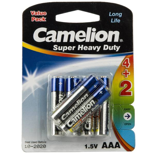 باتری نیم قلمی کملیون مدل Super Heavy Duty بسته 6 عددی