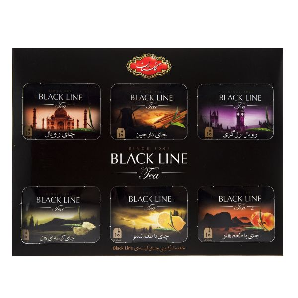 چای کیسه ای ترکیبی گلستان مدل Black Line بسته 60 عددی