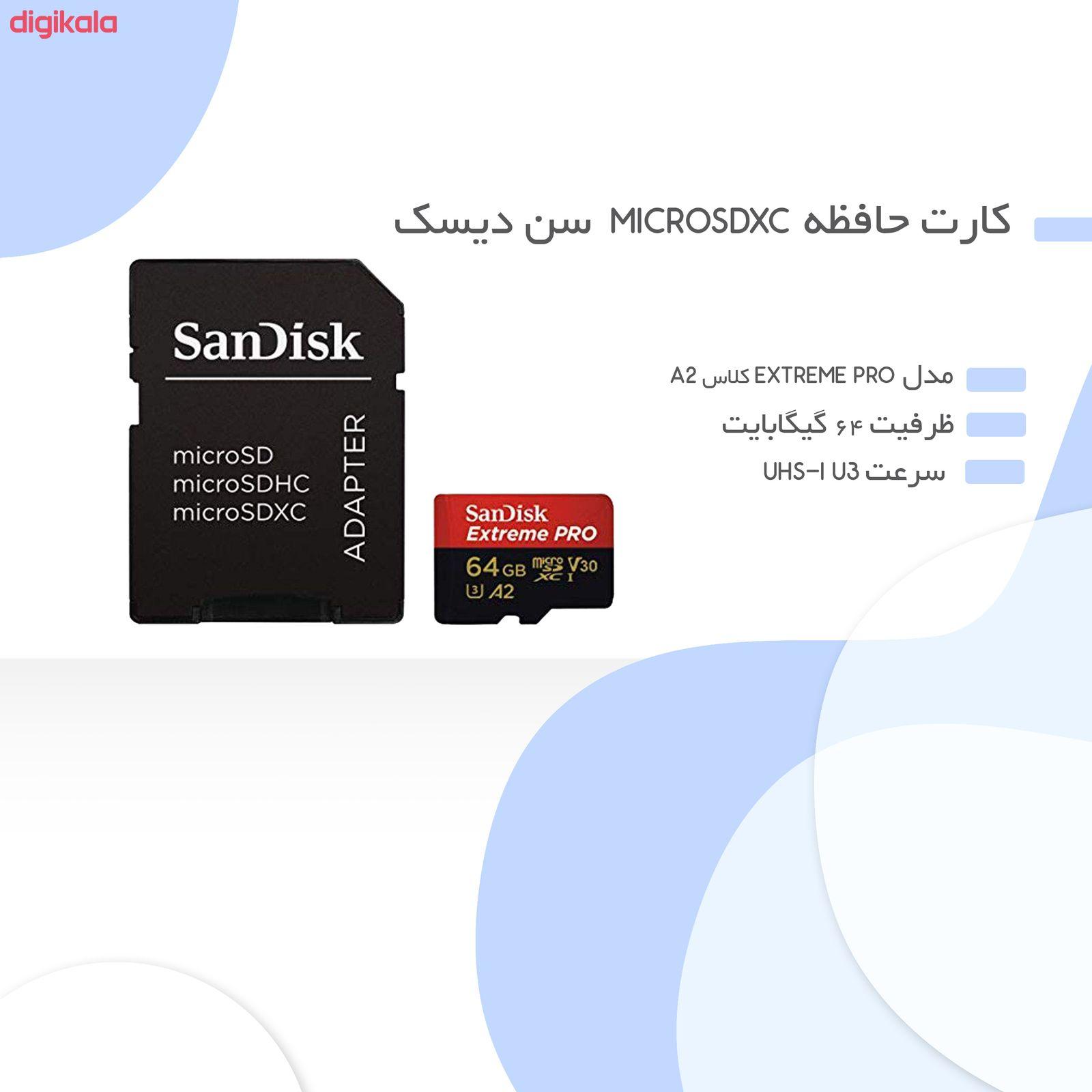 کارت حافظه microSDXC سن دیسک مدل Extreme PRO کلاس A2 استاندارد UHS-I U3 سرعت 170MBs ظرفیت 64 گیگابایت به همراه آداپتور SD main 1 2