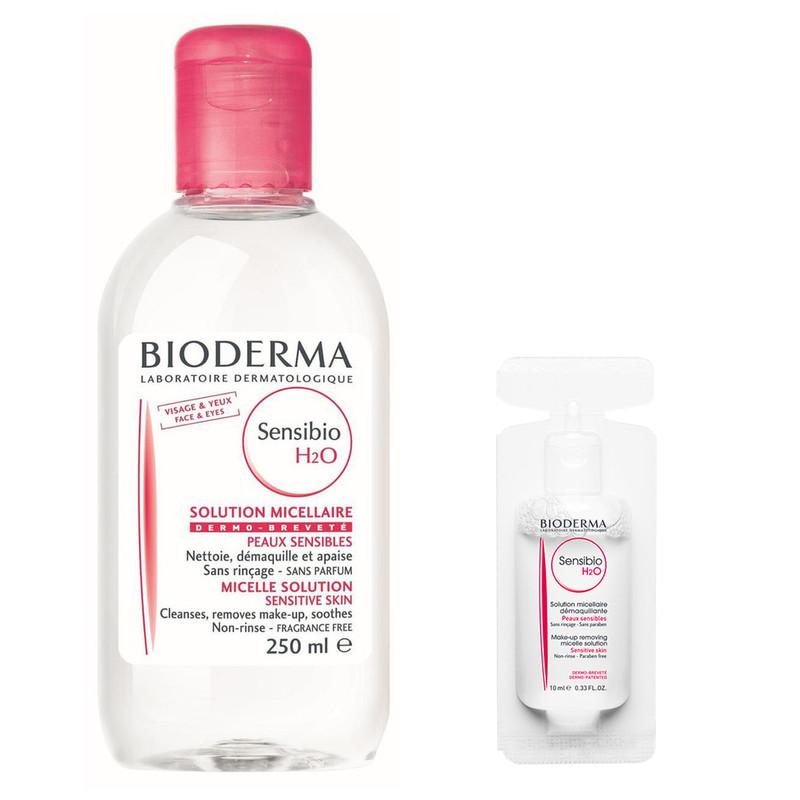 محول پاک کننده آرایش بایودرما مدل Sensibio حجم 250 میلی لیتر به همراه محلول پاک کننده آرایش مدل Sensibio حجم 10 میلی لیتر