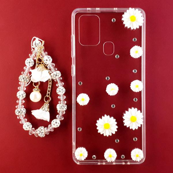 کاور مدل گل بابونه مناسب برای گوشی موبایل سامسونگ Galaxy A21s به همراه بند