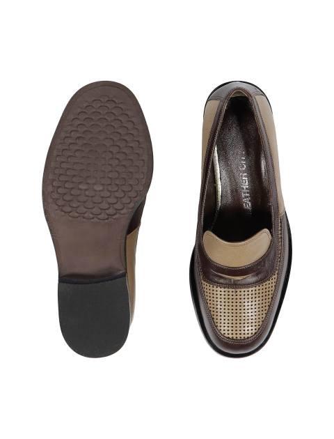 کفش تخت چرم زنانه - شهر چرم - کرم و قهوه اي - 2